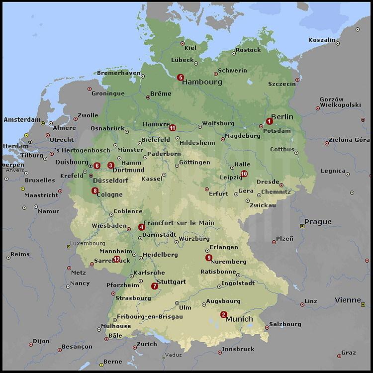 Carte Allemagne Avec Les Villes.Carte Generale De L Allemagne Avec Situation Des Villes