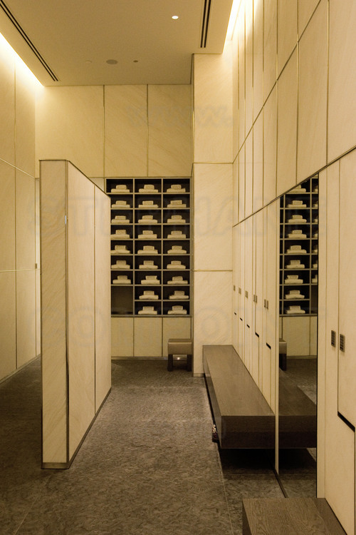 Inside the Burj Khalifa (highest in the world with 828 meters), the spa's men's locker rooms of the Armani Hotel, a 7 star one (the only category with the famous Burj Al Arab, also in Dubai) located at the first floors of the tower.
