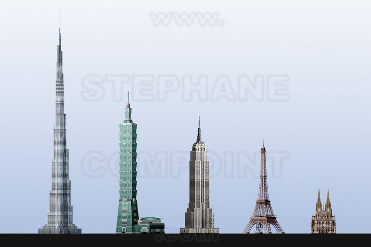 Scale representation of five buildings that were in their time the highest in the world: from left to d. Burj Khalifa, 828 m. (since January 2010), Taipe 101 (508 m with antenna from 2004 to 2008), Empire State Building (443 m with antenna from 1931 to 1972), Eiffel Tower (324 m with antenna from 1889 to 1931), Cologne Cathedral (157 m from 1880 to 1884).