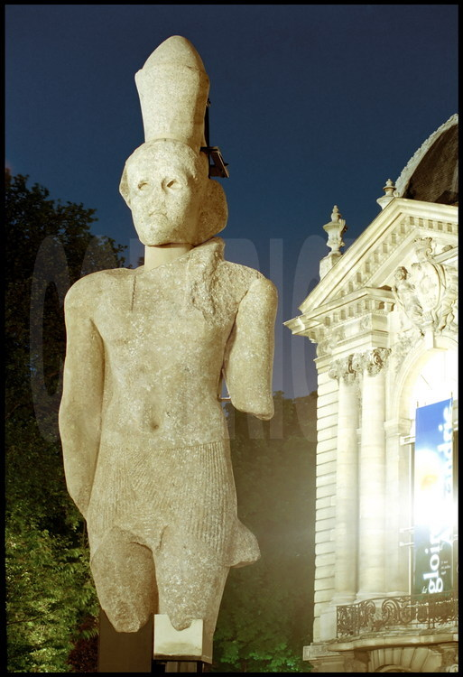 "The various submerged blocs of the King Ptolemy's colossal statue represented as pharaoh were reassembled and presented at the Petit Palais in Paris for ""The Glory of Alexandria"" exhibit in 1997.  Presidents Hosni Mouarak and Jacques Chirac were present for its inauguration."