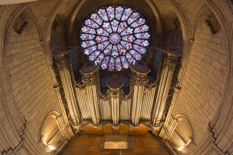 Le grand orgue, situé sous la Rose (rosace) de la façade ouest, date du XVIIIe siècle. Avec ses 109 jeux et ses 5 claviers, cet instrument est l'un des plus célèbres au monde et les plus grands musiciens internationaux s'y pressent pour venir y jouer. Pilier de la vie musicale et liturgique de de la cathédrale, il n'a cessé d'être rénové au fil des siècles. Pour le 850ème anniversaire, son système de transmission a été rénové et ses 7374 (!) tuyaux dépoussiérés.*** Local caption ***The Grand Organ, located under the western Rose, dates from the eighteenth century. With 109 games and 5 keyboards, this instrument is one of the world's most famous and largest international musicians flock here to play. Mainstay of musical and liturgical life of the cathedral, it has ceased to be renovated over the centuries. For the 850th anniversary, the transmission system has been renovated and its 7374 (!) pipes dusted.