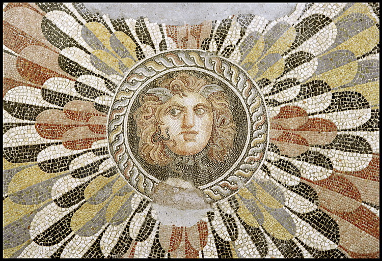 "Discovered on the Diana Theatre archeological site, "" Medusa's Mosaic"" is one of the most famous pieces found by Jean-Yves Empereur's team.  Made with tiles of remarkable quality, it dates back to the second century BC"