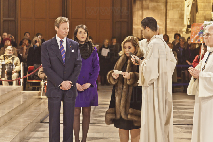 February 2, 2013: Baptism of bells in the cathedral of Notre Dame. Grand Duke Henri and Grand Duchess Maria Teresa of Luxembourg, godfathers of baptism of big bell Marie.