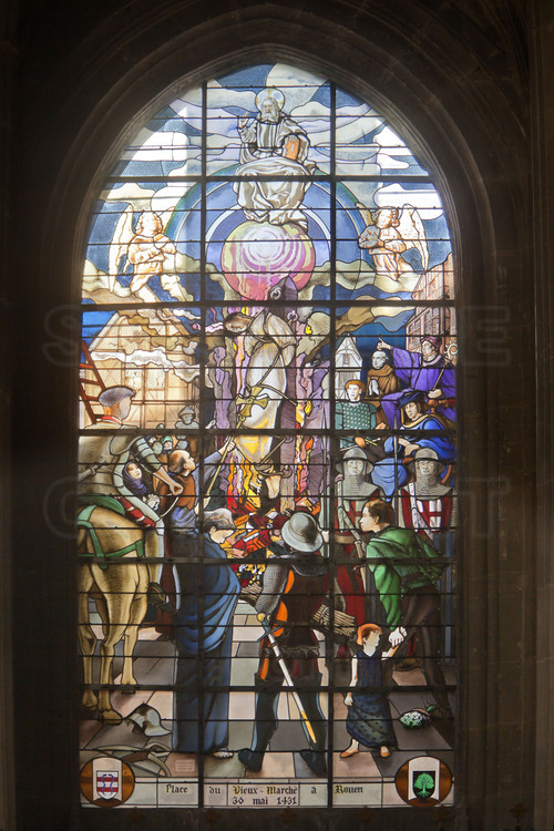 Compiègne, where Joan of Arc was captured by the Burgundians May 23, 1430. Church of St. Anthony. Inside, a serial of stained glasses describingl the major episodes in the life of Joan of Arc. 8/ Joan of Arc burned at the Old Market Square in Rouen.
