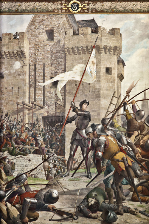Orleans, where the army led by Joan of Arc defeated the English May 8, 1429. Painting of Joan of Arc in Orleans, made between 1886 and 1890 by Jules Eugène Lenepveu.