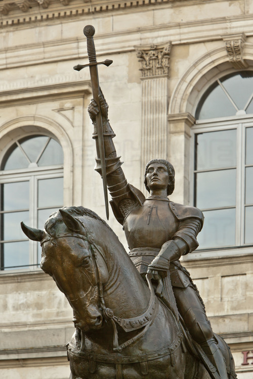Vaucouleurs, where Joan of Arc left from 22 February 1429 to go to Chinon. Facing the Town Hall, the equestrian statue of Joan of Arc was built in Algiers in 1951 and then was assigned to the town of Vaucouleurs at independence of Algeria in 1962.