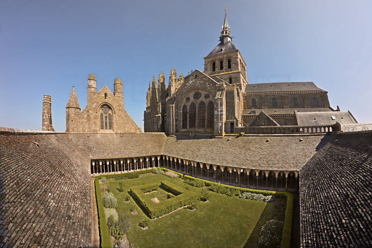 From the northwest, the cloister, the refectory (left) and the church (in the center).
