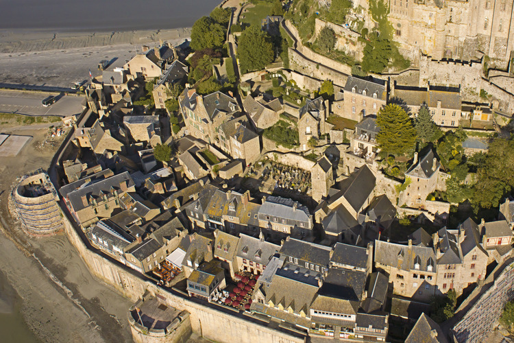 The village of Mont Saint Michel as seen from the east.