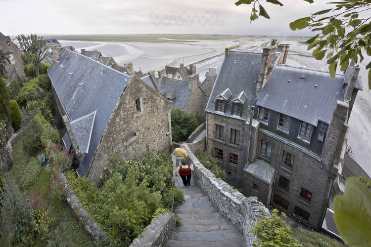 Stairs street of the village of Mont Saint Michel.