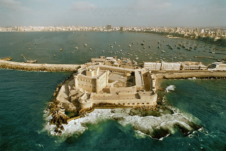 Aerial view of fort Qaitbay, built on the ancient lighthouse site by the sultan Mamelouk Ashray  Qaitbay at the end of the fifteenth century (1477).