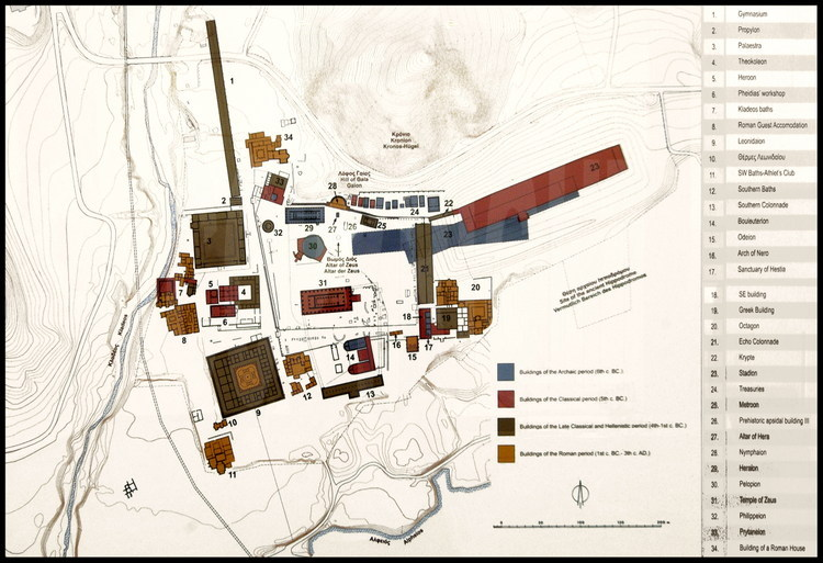Map of the Altis and of the sports facilities of Olympia's sanctuary.  From the 5th century B.C until the 3rd century A.D.