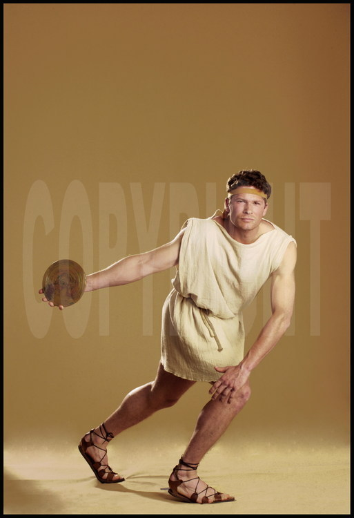Young athletes dressed and equipped like their ancestors of the Olympic games.  The disc thrower or discobolus.
