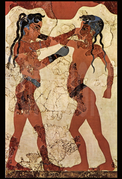 On this recently discovered stage in Thera, two very young pugilists train with the characteristic hand protections.  Many years of practice were necessary before attaining the level required to fight in the Games.  National Archeological Museum of Athens.