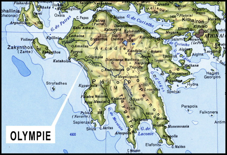 Map Of Southern Greece And Of The Peloponnese Peninsula Olympia Is