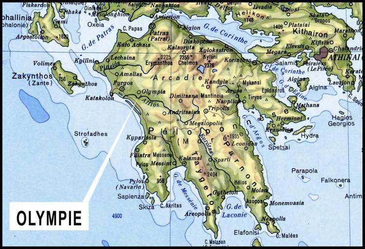 Carte du sud de la Grèce et de la péninsule du Péloponnèse